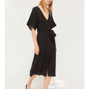 Urban Outfitters Kayla Surplice Wrap Midi Dress